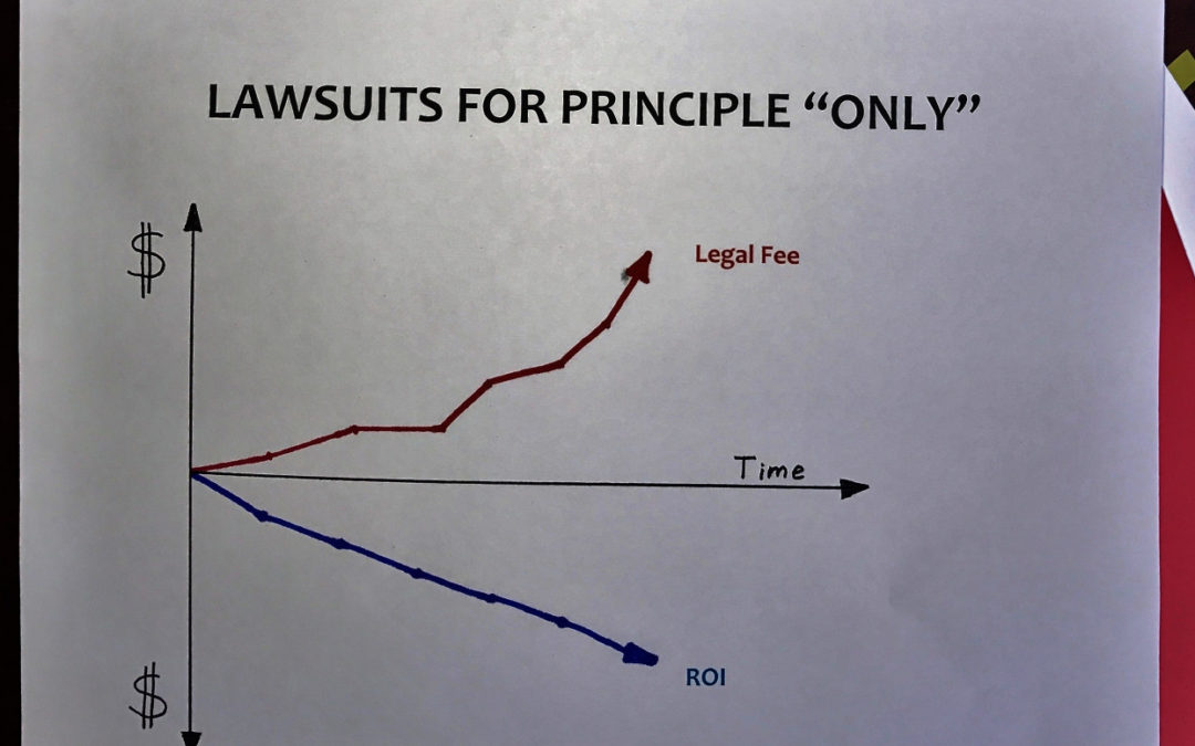 "STOP SPENDING MONEY ON STUPID SHIT PART III: WHAT'S THE ROI OF SUING BASED ""ONLY"" ON PRINCIPLE?"